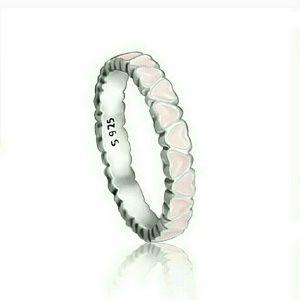 Size 9 pink enamel heart Pandora ring
